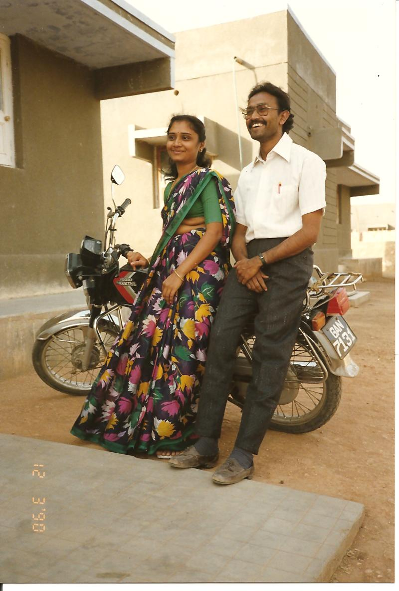 Mr and Mrs Natwar Ghol outside their residence - Surendranagar - March 1990