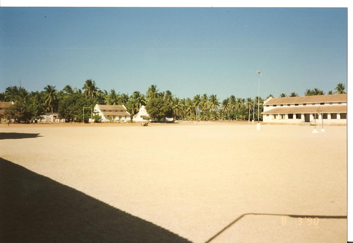 View of playing friends across Madhyachogan from the corner of Chhatralays 8 & 9 - March 1990