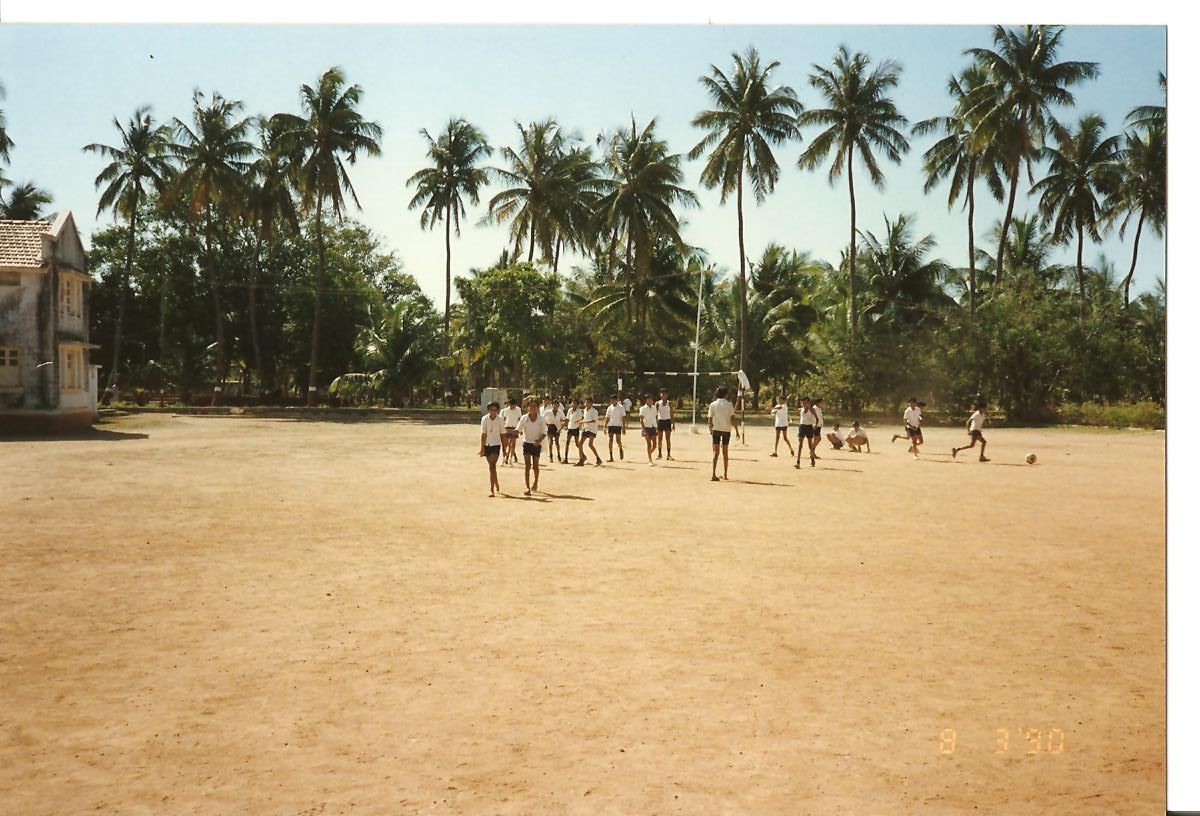 PE Period - students playing football - March 1990