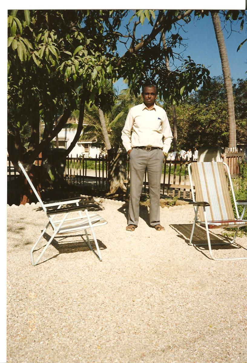 Shri Ambalalbhai outside his residence - March 1990